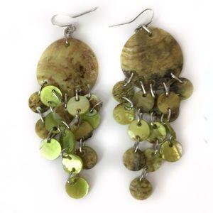 New Green Dangle Shell like Earrings